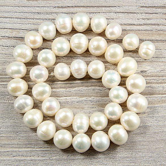 Potátó, fehér tenyésztett gyöngy alapanyagszál, 10,5-11,5 mm, kb. 40 cm
