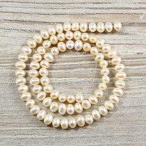 Potátó, fehér tenyésztett gyöngy alapanyagszál, 5-5,5 mm, kb. 40 cm (AA)