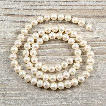 Potátó, fehér tenyésztett gyöngy alapanyagszál, 5,5-6 mm, kb. 40 cm (AA)