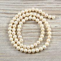 Potátó, fehér tenyésztett gyöngy alapanyagszál, 5-6 mm, kb. 40 cm