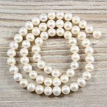 Potátó, fehér tenyésztett gyöngy alapanyagszál, 6,5-7 mm, kb. 40 cm (AA)