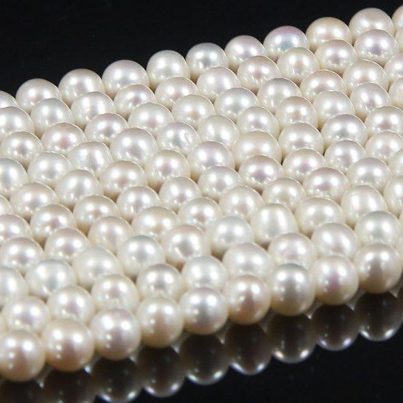 Potátó, fehér tenyésztett gyöngy alapanyagszál, 6-6,5 mm, kb. 40 cm (AA)