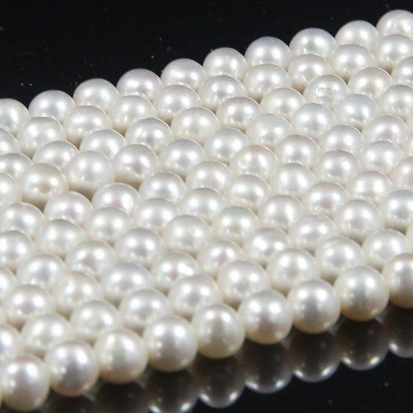 Potátó, fehér tenyésztett gyöngy alapanyagszál, 6-7 mm, kb. 40 cm (A)