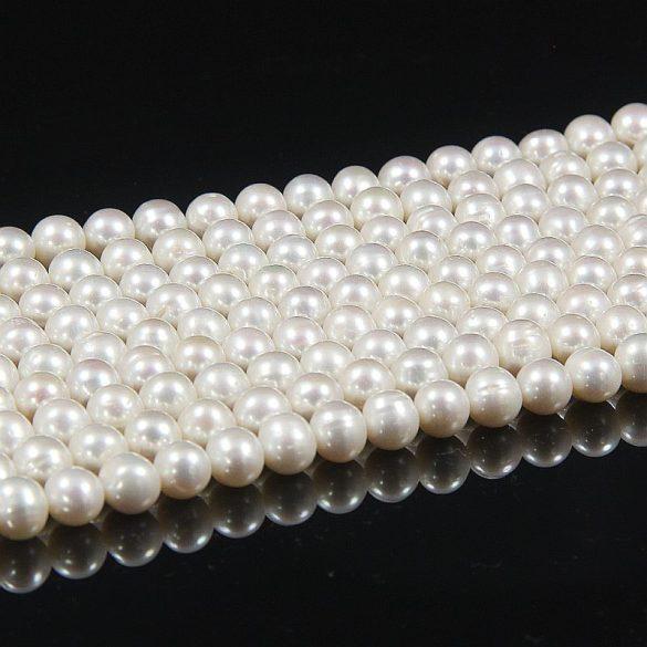 Potátó, fehér tenyésztett gyöngy alapanyagszál, 7,5-8 mm, kb. 40 cm (AA)