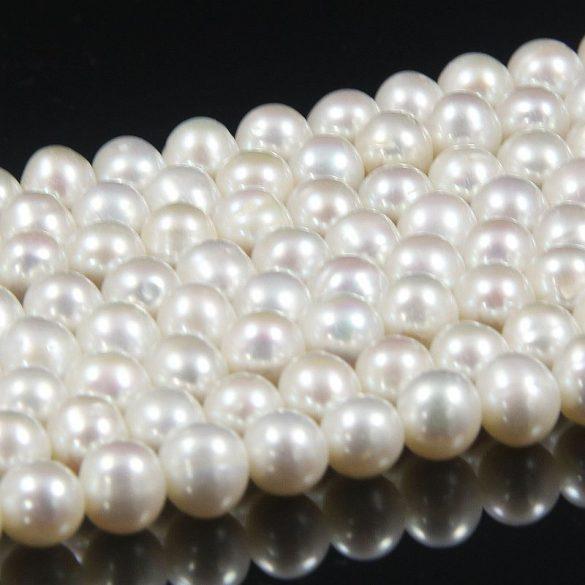 Potátó, fehér tenyésztett gyöngy alapanyagszál, 7-7,5 mm, kb. 40 cm (AA)