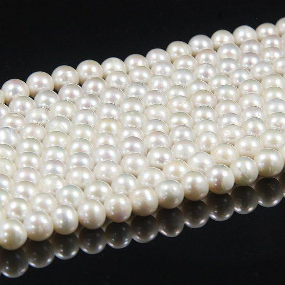 Potátó, fehér tenyésztett gyöngy alapanyagszál, 8,5-9,5 mm, kb. 40 cm