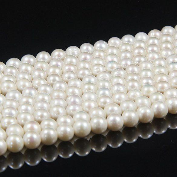 Potátó, fehér tenyésztett gyöngy alapanyagszál, 8-8,5 mm, kb. 40 cm