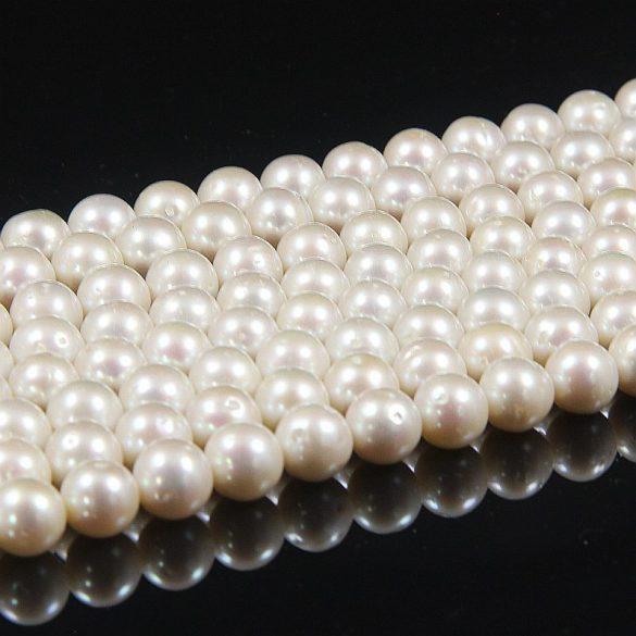 Potátó, fehér tenyésztett gyöngy alapanyagszál, 9,5-10,5 mm, kb. 40 cm (AA)