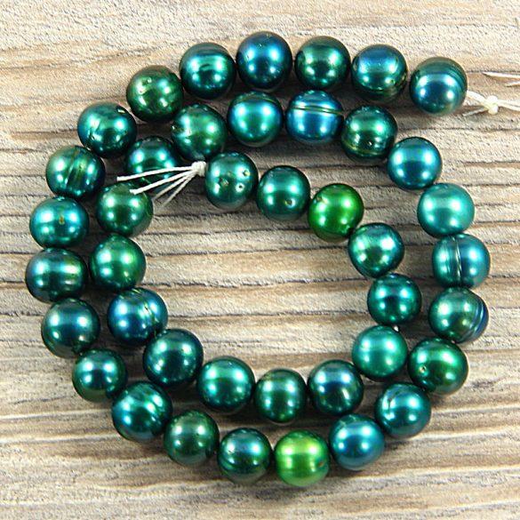 Potátó, zöld tenyésztett gyöngy alapanyagszál, 9-10 mm, kb. 40 cm