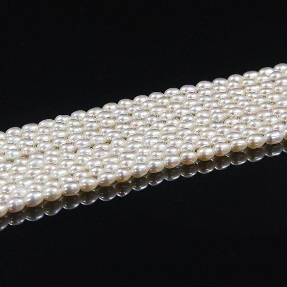 Rizsszemű, fehér tenyésztett gyöngy alapanyagszál, 4-4,5 mm, kb. 40 cm (AA)