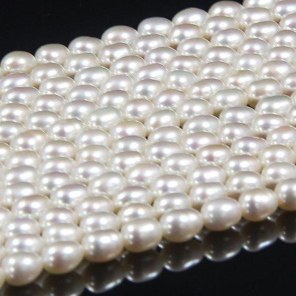 Rizsszemű, fehér tenyésztett gyöngy alapanyagszál, 5-5,5 mm, kb. 40 cm (AA)