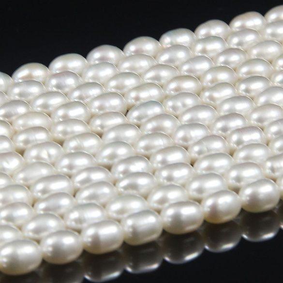 Rizsszemű, fehér tenyésztett gyöngy alapanyagszál, 5,5-6 mm, kb. 40 cm (AA)
