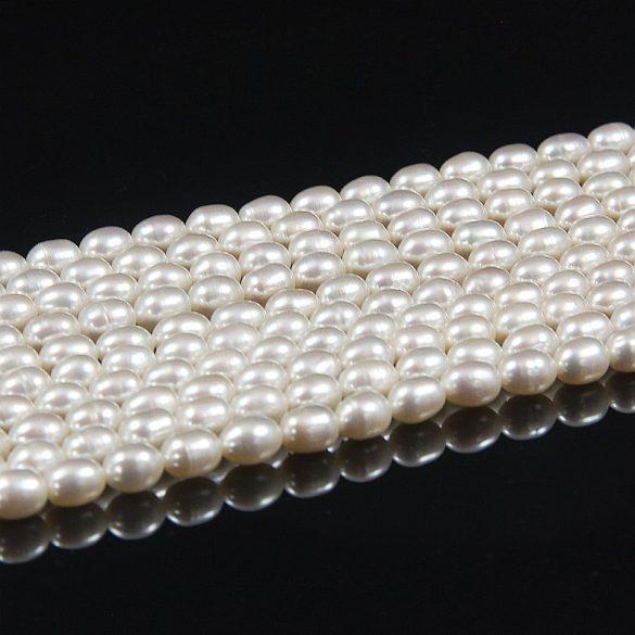 Rizsszemű, fehér tenyésztett gyöngy alapanyagszál, 6-6,5 mm, kb. 40 cm (AA)
