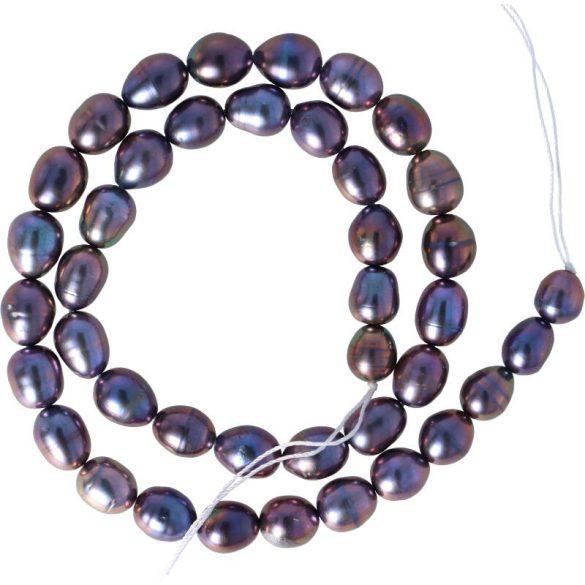 Rizsszemű, fekete tenyésztett gyöngy alapanyagszál, kb. 8-9 mm, kb. 40 cm