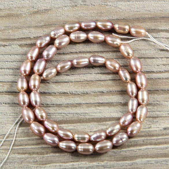 Rizsszemű, lila tenyésztett gyöngy alapanyagszál, 5-6 mm, kb. 40 cm