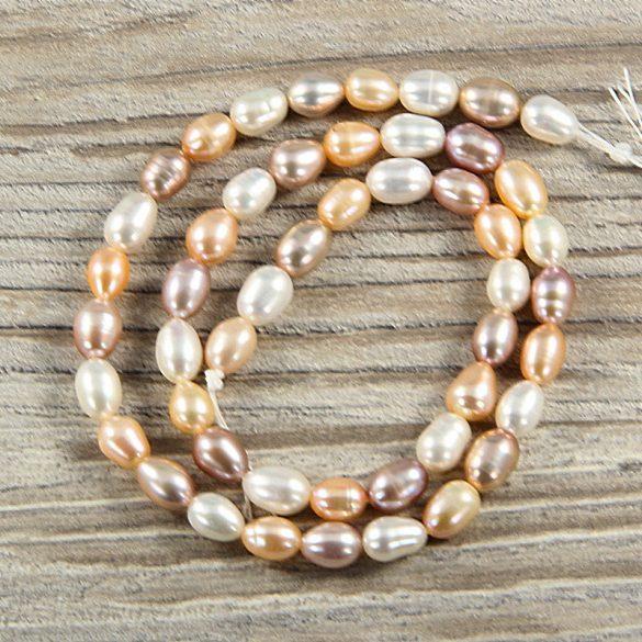 Rizsszemű, multicolor tenyésztett gyöngy alapanyagszál, 6-7 mm, kb. 40 cm