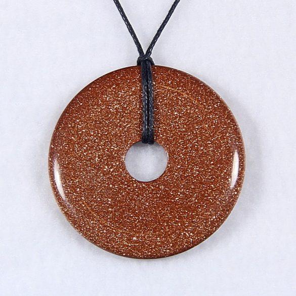 Donut medál, aranykő, barna, 50 mm