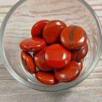 Piros jáspis, kerek, lapos, 20 mm, kb 38 cm