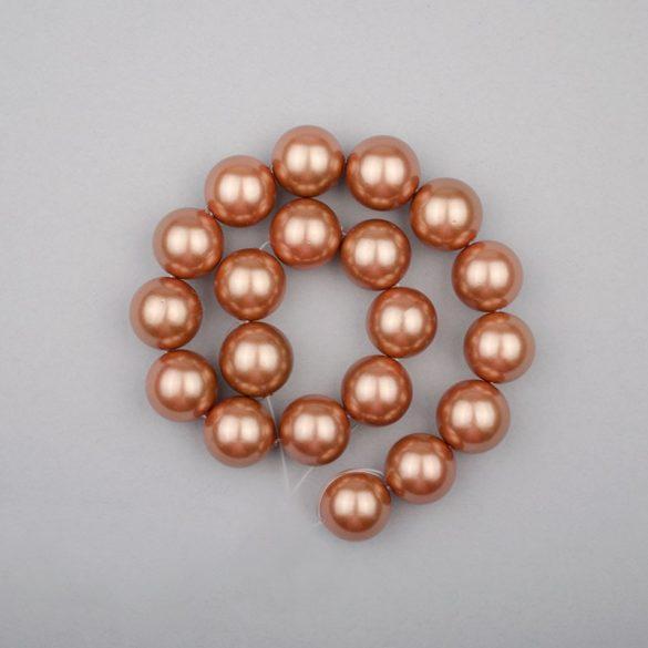 Shell pearl alapanyagszál, barna, golyós, 10 mm, 19 cm