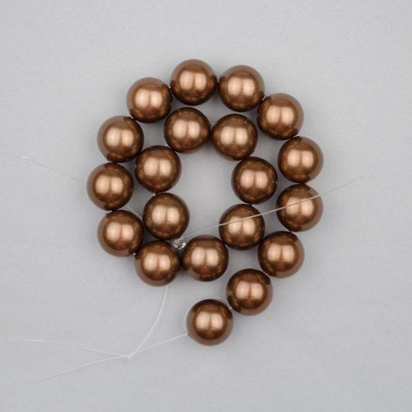 Shell pearl alapanyagszál, sötétbarna, golyós, 10 mm