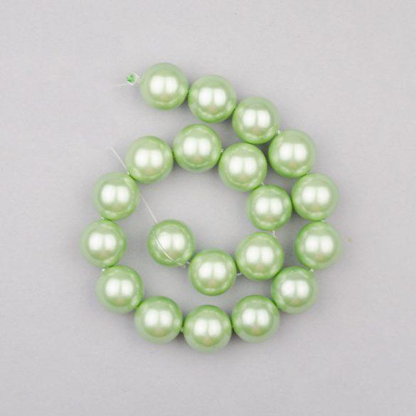 Shell pearl alapanyagszál, zöld, golyós, 10 mm, 19 cm