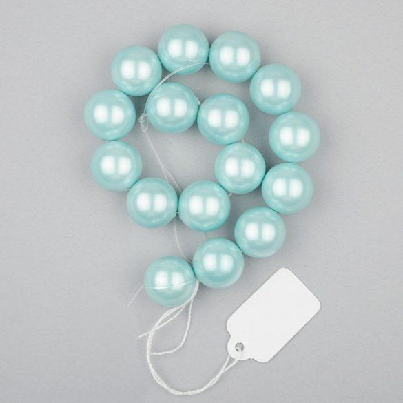 Shell pearl alapanyagszál, világoskék, golyós, 12 mm