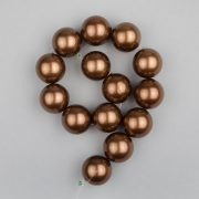 Shell pearl alapanyagszál, sötétbarna, golyós, 14 mm