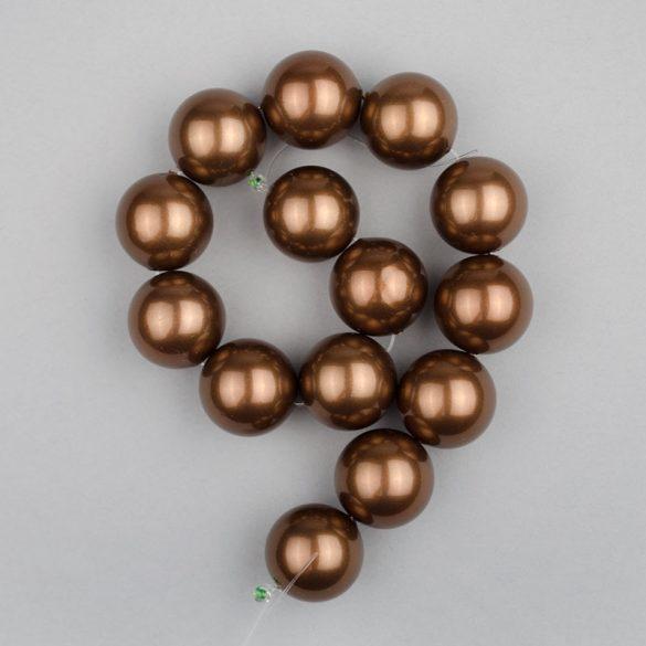 Shell pearl alapanyagszál, sötétbarna, golyós, 14 mm, 19 cm