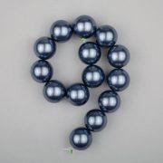 Shell pearl alapanyagszál, középkék, golyós, 14 mm