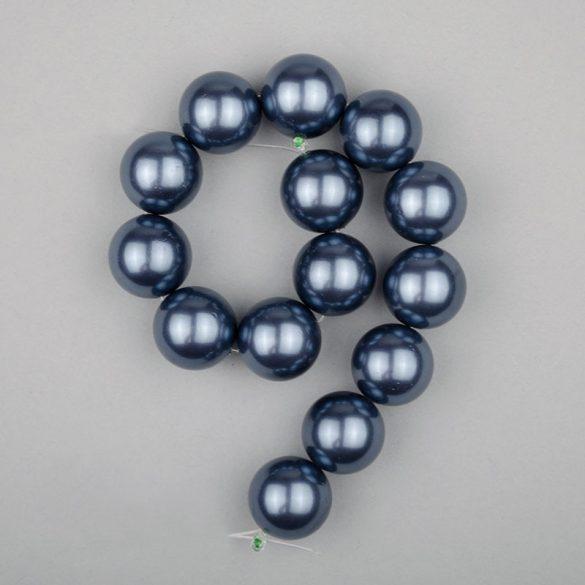 Shell pearl alapanyagszál, középkék, golyós, 14 mm, 19 cm