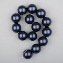 Shell pearl alapanyagszál, sötétkék, golyós, 14 mm, 19 cm
