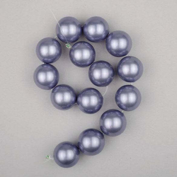 Shell pearl alapanyagszál, szürkéskék, golyós, 14 mm