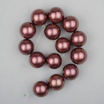 Shell pearl alapanyagszál, sötétlila, golyós, 14 mm, 19 cm