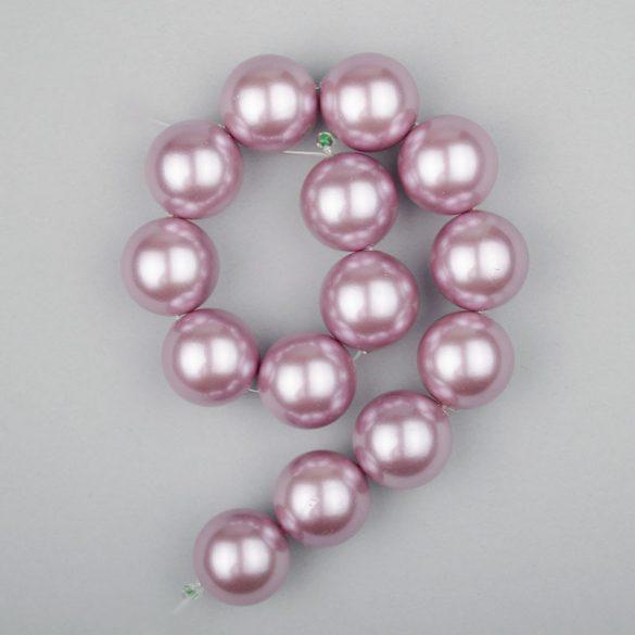 Shell pearl alapanyagszál, világoslila, golyós, 14 mm