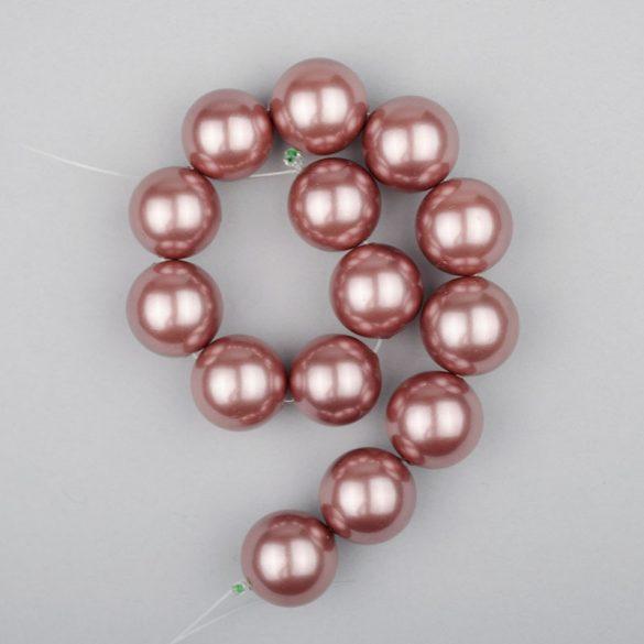 Shell pearl alapanyagszál, mályva, golyós, 14 mm, 19 cm