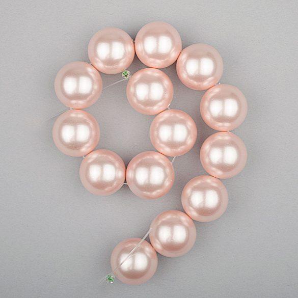 Shell pearl alapanyagszál, rózsaszín, golyós, 14 mm, 19 cm