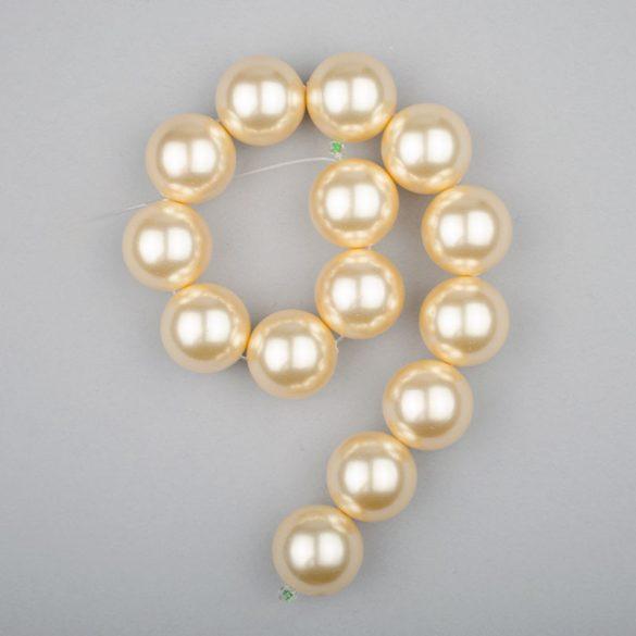 Shell pearl alapanyagszál, világossárga, golyós, 14 mm