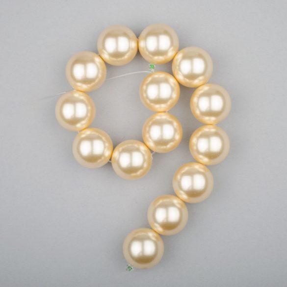 Shell pearl alapanyagszál, világossárga, golyós, 14 mm, 19 cm