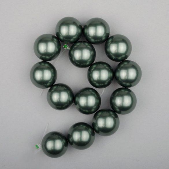 Shell pearl alapanyagszál, olajzöld, golyós, 14 mm, 19 cm