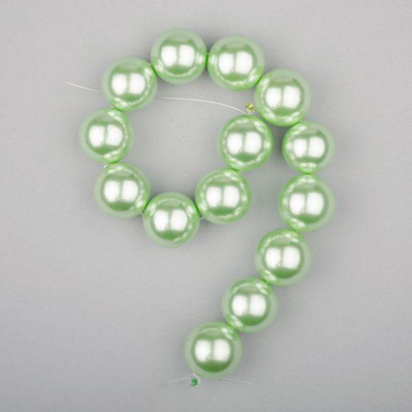 Shell pearl alapanyagszál, világoszöld, golyós, 14 mm