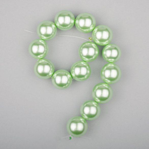 Shell pearl alapanyagszál, világoszöld, golyós, 14 mm, 19 cm