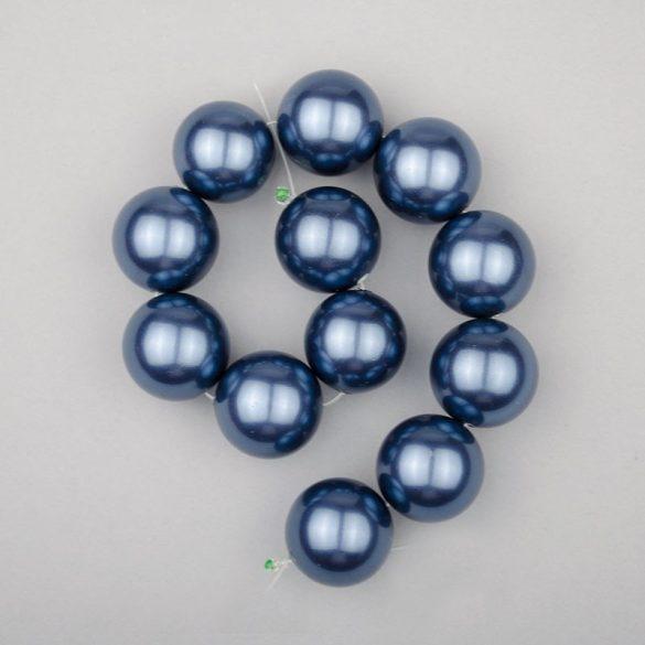 Shell pearl alapanyagszál, középkék, golyós, 16 mm, 19 cm