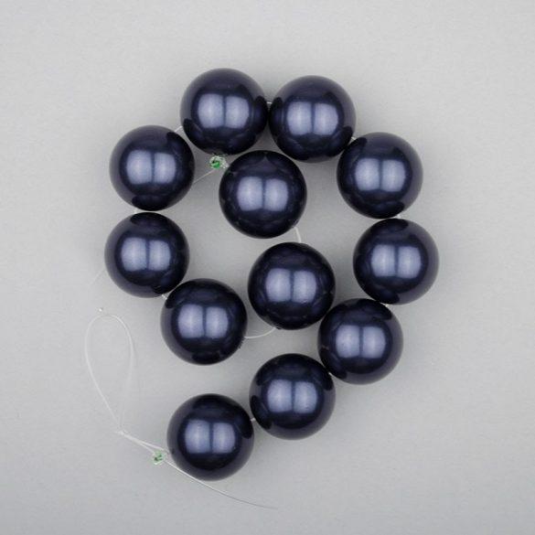 Shell pearl alapanyagszál, sötétkék, golyós, 16 mm, 19 cm