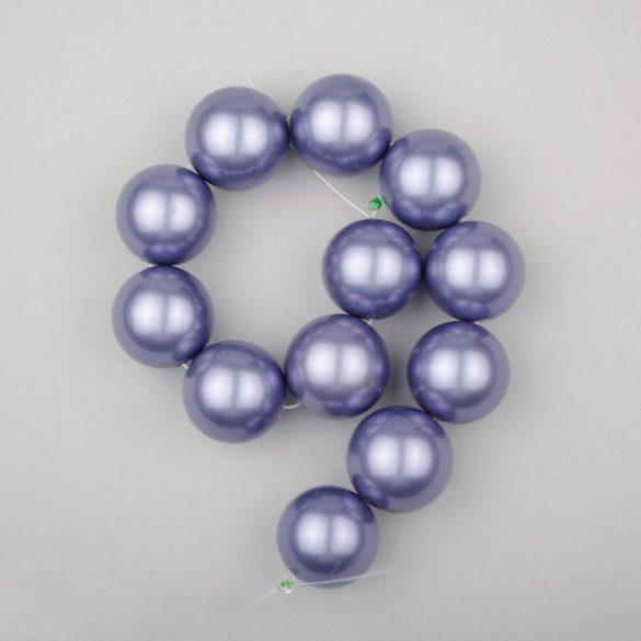 Shell pearl alapanyagszál, szürkéskék, golyós, 16 mm, 19 cm
