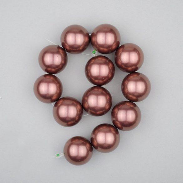 Shell pearl alapanyagszál, sötétlila, golyós, 16 mm, 19 cm