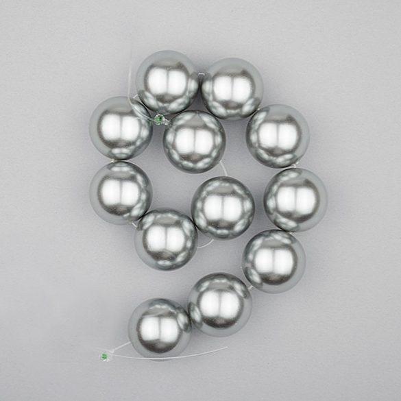 Shell pearl alapanyagszál, szürke, golyós, 16 mm, 19 cm