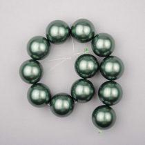 Shell pearl alapanyagszál, olajzöld, golyós, 16 mm, 19 cm