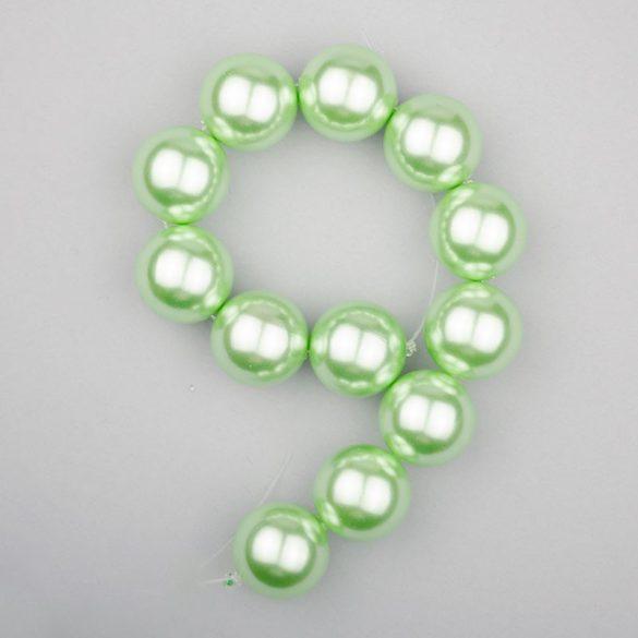 Shell pearl alapanyagszál, világoszöld, golyós, 16 mm