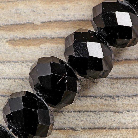Köztes dísz, fazettált üveg, button, 12 mm, fekete (kb. 15 cm)