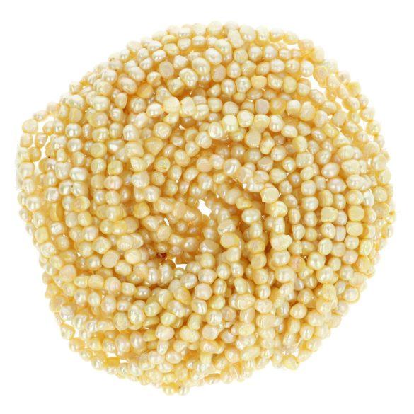 Potátó, színezett tenyésztett gyöngy alapanyagszál, 4-5 mm, citromsárga, kb. 40 cm
